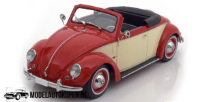 Volkswagen Kever Hebmueller Cabriolet 1949 - Limited Edition 1 of 2000 pcs. (Rood/Wit) (30 cm) 1/18 KK Scale