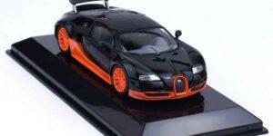 Bugatti Veyron 16.4 Super Sport 2010 (Zwart/Oranje) (10 cm) 1/43 Atlas