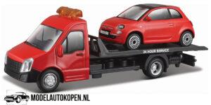 Fiat 500 + Flatbed Transporter (Rood) (16 cm) 1/43 Bburago