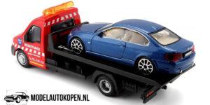 BMW 6 Serie + Flatbed Transporter (Blauw) (16 cm) 1/43 Bburago