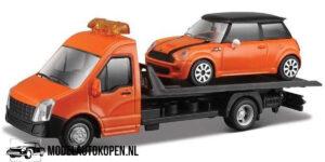 Mini Cooper S + Flatbed Transporter (Oranje) (16 cm) 1/43 Bburago
