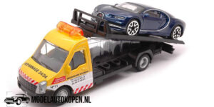 Bugatti Chiron + Flatbed Transporter (Blauw) (16 cm) 1/43 Bburago