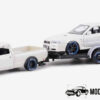 Datsun 620 Pickup 1973 (Crème) + aanhanger met Datsun Skyline 34 (Crème) (45cm) 1/24 Maisto