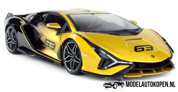 Lamborghini Sián FKP 37 (Geel/Zwart) (30 cm) 1/18 Bburago
