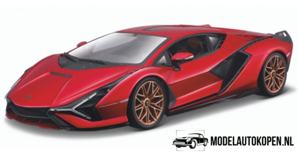 Lamborghini Sián FKP 37 (Rood) (30 cm) 1/18 Bburago