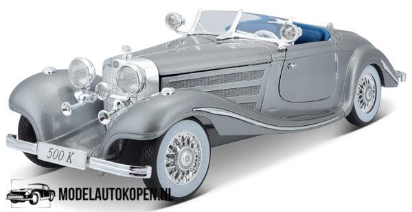 Mercedes-Benz 500K Typ Specia lroadster 1936 (Zilver) (32 cm) 1/18 Maisto Premiere Edition