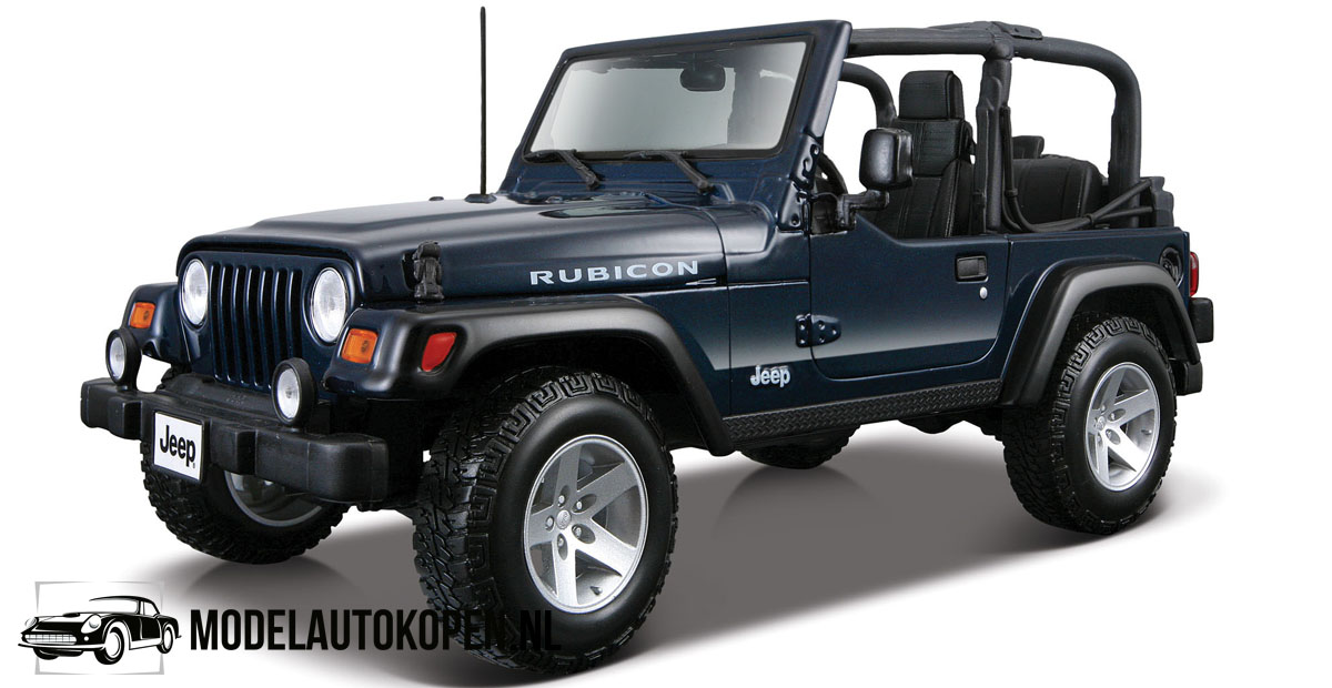 Jeep Wrangler Rubicon (Donkerblauw) (20 cm) 1/18 Maisto