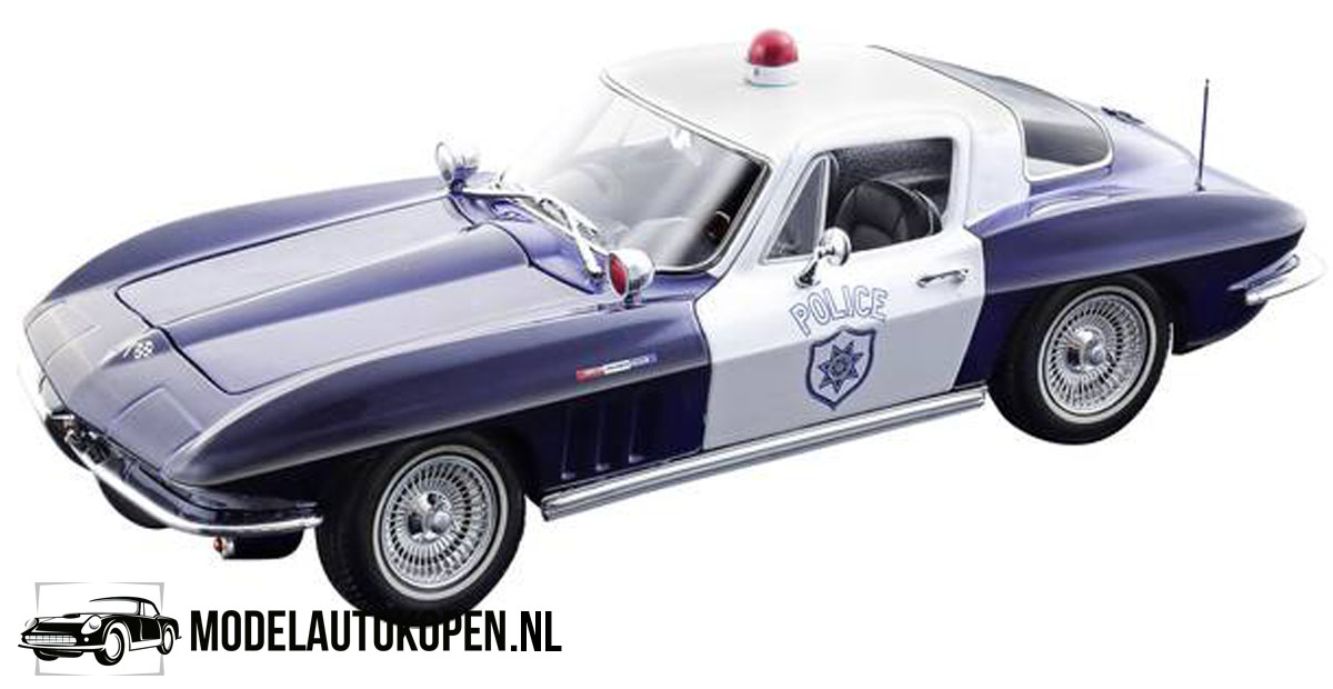 1965 Chevrolet Corvette Politie (Blauw/Wit) (22 cm) 1/18 Maisto