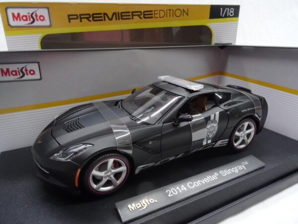 2014 Corvette Stingray Politie (Mat Zwart) (22 cm) 1/18 Maisto Premiere Edition