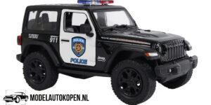 Jeep Wrangler Police (Zwart) (10 cm) 1/36 Kinsmart