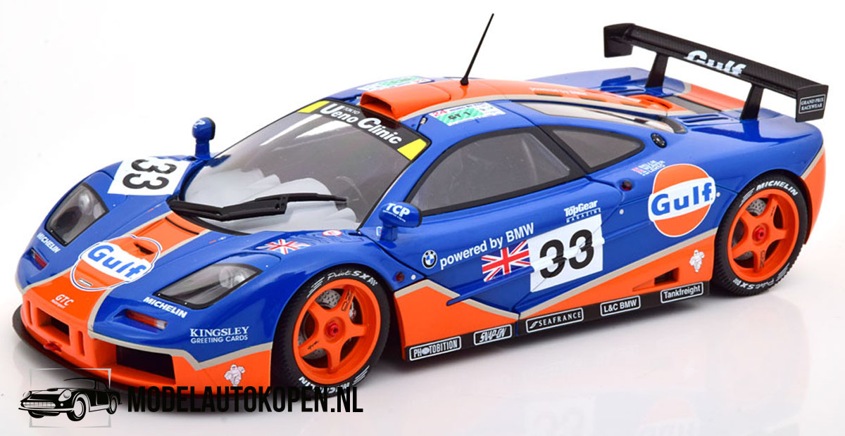 McLaren F1 GTR 24h Le Mans #33 GULF (Blauw) (30 cm) 1/18 Solido