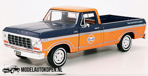 1979 Ford F-150 Custom GULF (Donkerblauw/Oranje) (20 cm) 1/24 Motor Max