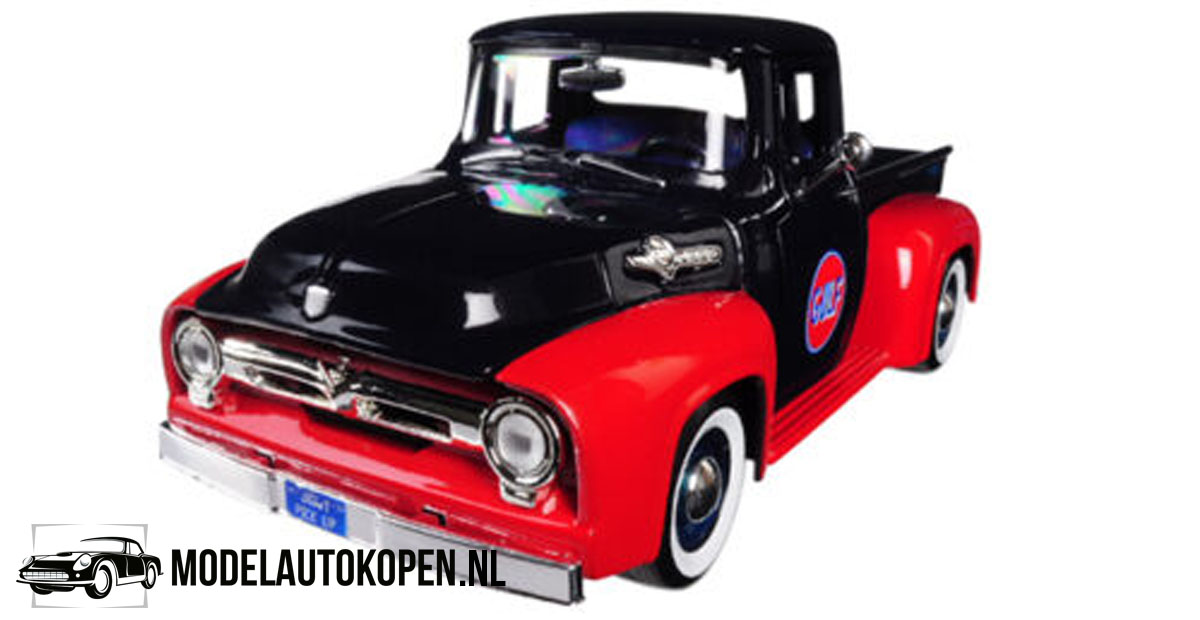 1956 Ford F-100 Pickup GULF (Zwart/Rood) (20 cm) 1/24 Motor Max