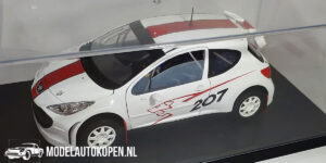 Peugeot 207 (Wit) (22cm) + showcase 1:18 Solido Racing Collection