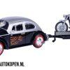 Volkswagen Beetle (Zwart/Zilver) + Motor met aanhanger (Paars/Zwart) (30 cm) 1/24 Motor Max