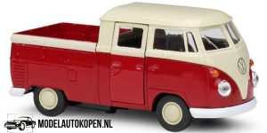 Volkswagen T1 Double Cabin Pick-Up (Rood/Wit) (10 cm) 1/43 Welly