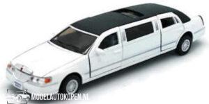 1999 Lincoln Town Car Stretch Limousine (Wit) (18 cm) 1/38 Kinsmart