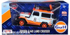 Toyota FJ40 Land Cruiser GULF (Lichtblauw) (16 cm) 1/24 Motor Max [Mijo Exclusives 1 of 2400pcs]