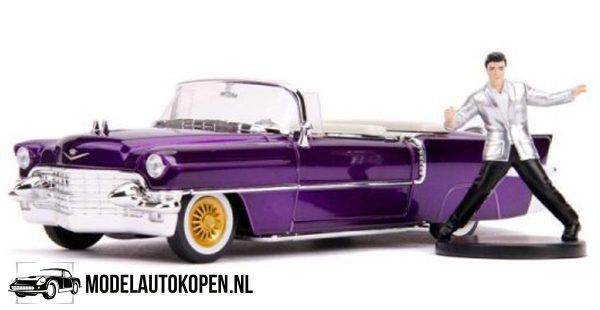 1956 Cadillac Eldorado + Elvis Presley Figuur (Paars) (25 cm) 1/24 Jada