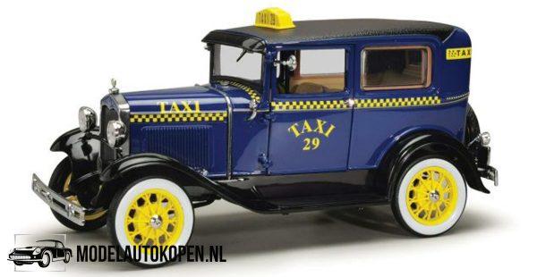 Ford Model A Tudor Taxi 1931 (Donkerblauw/Geel) (21 cm) 1/18 Sun Star