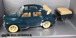 Renault 4 CV Cabriolet met aanhanger (Groen) (28cm) 1:18 Solido